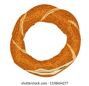 Turkish traditional bagel simit. Cartoon vector illustration in flat style. Turkish Sesame Bagel. Istanbul traditional flavors