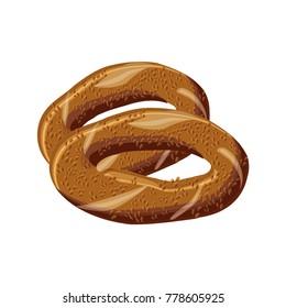 Turkish traditional bagel simit. Cartoon vector illustration in flat style.
