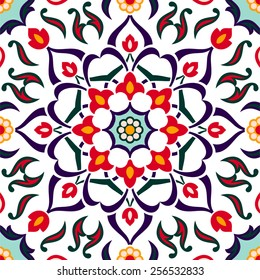 Turkish traditional floral decor, seamless pattern, vintage background, vector