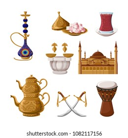 Turkish traditional heritage icon set, part 2. Hookah, brass teapot, turkish delights, tea glass, hammam, Hagia Sophia, scimitar, drum. Arabic eastern culture.  Cartoon style vector illustration.