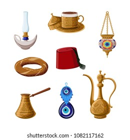 Turkish traditional heritage icon set, part 1. Alladin lamp, brass coffee cup, cezve, kettle, lantern, fez, simit, boncuck. Arabic eastern culture.  Cartoon style vector illustration.