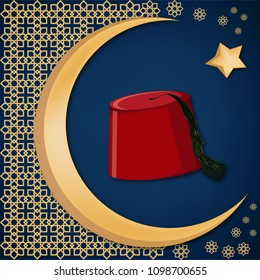 Turkish traditional red hat fez or tarboosh with arabic style ornament and moon and star background. Turkish culture concept. Ramadan kareem greeting card temlate. Cartoon vector illustration.