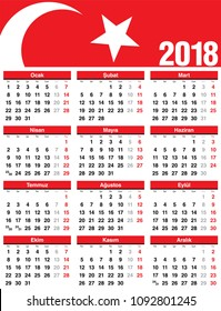 Turkish Vector Calendar 2018. Week Starts from Monday