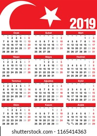 Turkish Vector Calendar 2019. Week Starts from Monday. Simple template of calendar on white background.