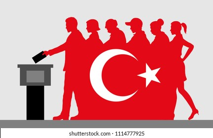 Turkish voters crowd silhouette like Turkey flag by voting for election. All the silhouette objects, and background are in different layers.