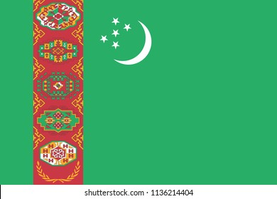 Turkmenistan flag with official colors and the aspect ratio of 2:3. Flat vector illustration.