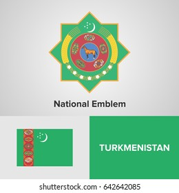 Turkmenistan National Emblem and flag