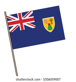 Turks and Caicos Islands Flag with Metal Pole. Vector illustration.