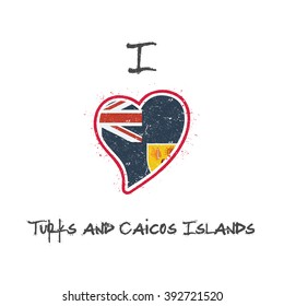 Turks and Caicos Islands flag patriotic t-shirt design. Heart shaped national flag of Turks and Caicos Islands on white background. Vector illustration.