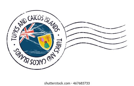 Turks and Caicos Islands grunge postal stamp and flag on white background