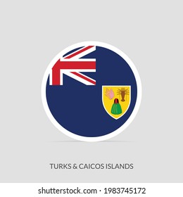 Turks  Caicos Islands Round flag icon with shadow.
