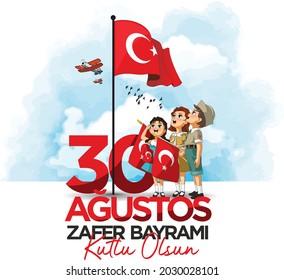 Niños patrióticos turcos saludan a la bandera el 30 de agosto, Día de la Victoria. (Traducción: Feliz 30 de agosto, Día de la Victoria)