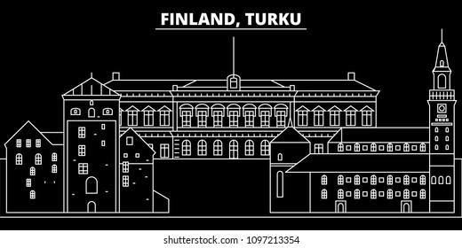 Turku silhouette skyline. Finland - Turku vector city, finnish linear architecture, buildings. Turku travel illustration, outline landmarks. Finland flat icons, finnish line banner