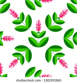 Turmeric, curcuma Plant with a flower. Stylized illustration. Seamless pattern. From the center