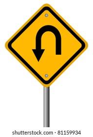 Turn back road sign, vector illustration