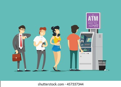 Turn into ATM. Vector illustration.