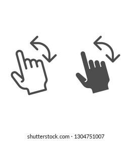 Turn left gesture line and glyph icon. Swipe vector illustration isolated on white. Flick to left outline style design, designed for web and app. Eps 10