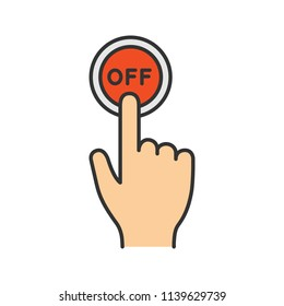Turn off button click color icon. Shutdown. Power off. Hand pressing button. Isolated vector illustration