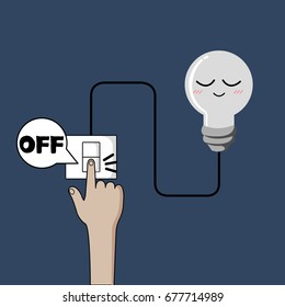 Turn off light, finger turning off light design, Saving energy.