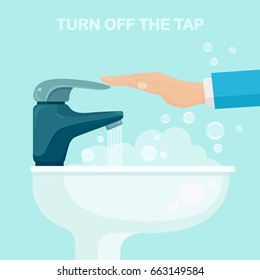 Turn off modern faucet and ceramic white sink full of soap foam and bubbles. Water tap and man's hand isolated on background. Furniture for toilet, bathroom and kitchen. Vector flat illustration.