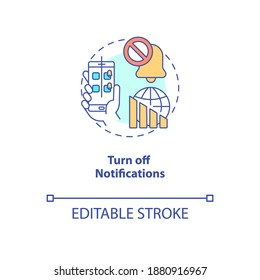 Turn off notifications concept icon. Smartphone dependence reducing idea thin line illustration. Social media accounts alert. Vector isolated outline RGB color drawing. Editable stroke