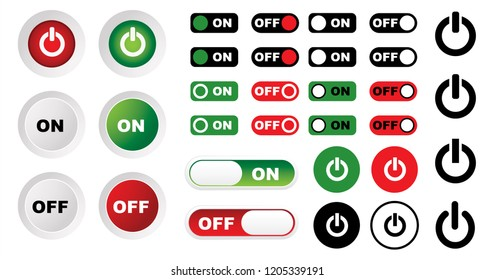 Turn off and on button set Vector eps Icon icons sign On and Off toggle switch button fun funny mobile red green position slider switches Toggle switch