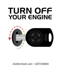 Turn Off Your Engine. Switch Off Your Engine. Signage Vector design element. Do Not Switch On Engine Symbol, Vector Illustration, Isolate On White Background Icon. EPS10