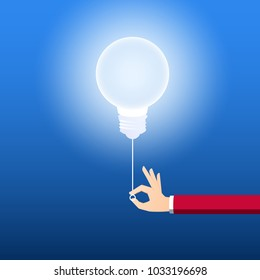 Turn on creative light bulb concept. Businessman pulling light switch to turn on idea. Creative idea concept. Cartoon Vector Illustration.