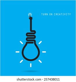Turn on Creative light bulb concept, design for poster, flyer, cover or brochure. Business idea and education concept. Vector illustration