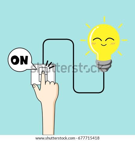 turn on light vector finger turn stock vector royalty free