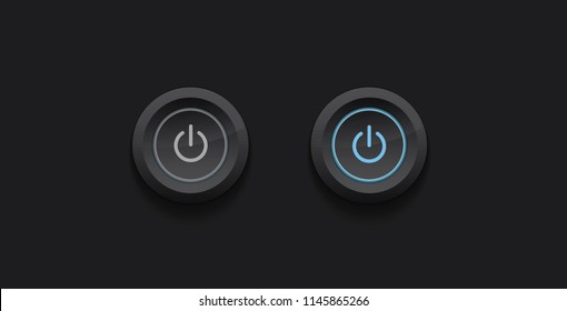 Turn on / off button - vector dark design