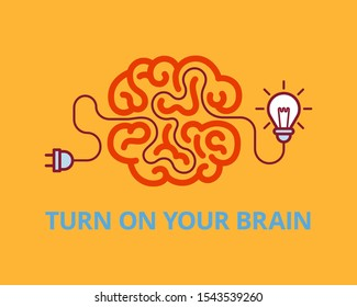 Turn on your brain. Brainstorm concept. Innovation and solution, vector illustration.