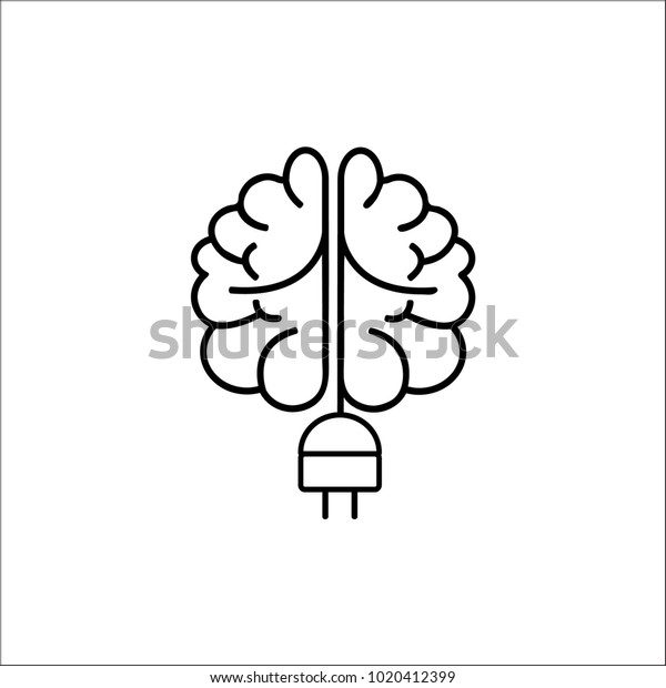 Turn On Your Brain Put Plug Stock Vector (Royalty Free