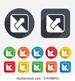 Turn page sign icon. Peel back the corner of the sheet symbol. Circles and rounded squares 12 buttons. Vector