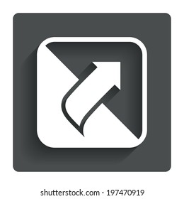 Turn page sign icon. Peel back the corner of the sheet symbol. Gray flat button with shadow. Modern UI website navigation. Vector