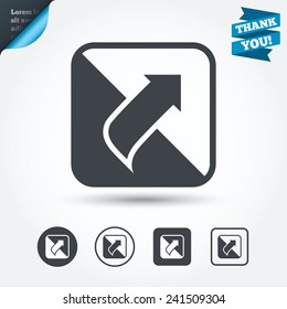 Turn page sign icon. Peel back the corner of the sheet symbol. Circle and square buttons. Flat design set. Thank you ribbon. Vector