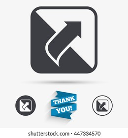 Turn page sign icon. Peel back the corner of the sheet symbol. Flat icons. Buttons with icons. Thank you ribbon. Vector