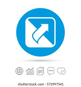 Turn page sign icon. Peel back the corner of the sheet symbol. Copy files, chat speech bubble and chart web icons. Vector
