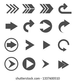 turn right arrow sign icons set vector