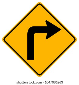 Turn Right Traffic Road Sign,Vector Illustration, Isolate On White Background,Symbols, Icon. EPS10