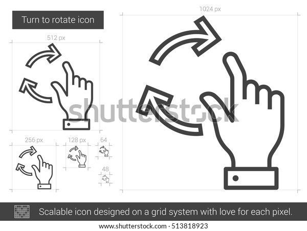 Turn Rotate Vector Line Icon Isolated Stock Vector (Royalty Free