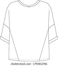 turn up sleeve t-shirt, women oversize t-shirt