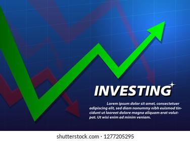 Turnaround investing background, vector art