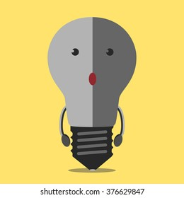 Turned off burned dull gray light bulb character on yellow. Lightbulb, idea, creativity, crisis, power outage, failure, energy concept. EPS 8 vector illustration, no transparency