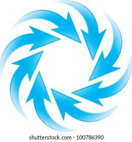 turning blue arrows