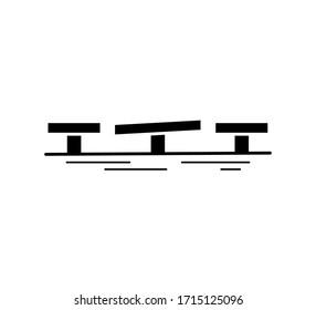 Turning bridge black silhouette icon isolated on white background. Urban architecture. Vector illustration.