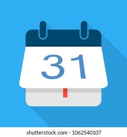 Turning calendar icon. Flat illustration of turning calendar vector icon for web