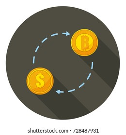 Turnover of cry-pto currency. Money movement. Flow of bit-coin and money.