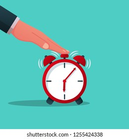 Turns off alarm clock. Vector illustration flat design. Isolated on white background. Man in a suit presses the alarm button.