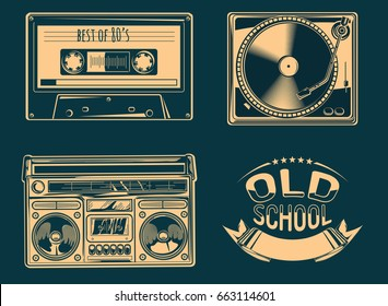 Turntable, boom box and audio cassette - retro music objects